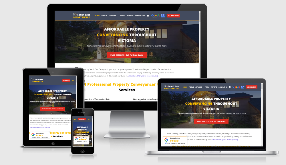 South East Conveyancing website design for local business