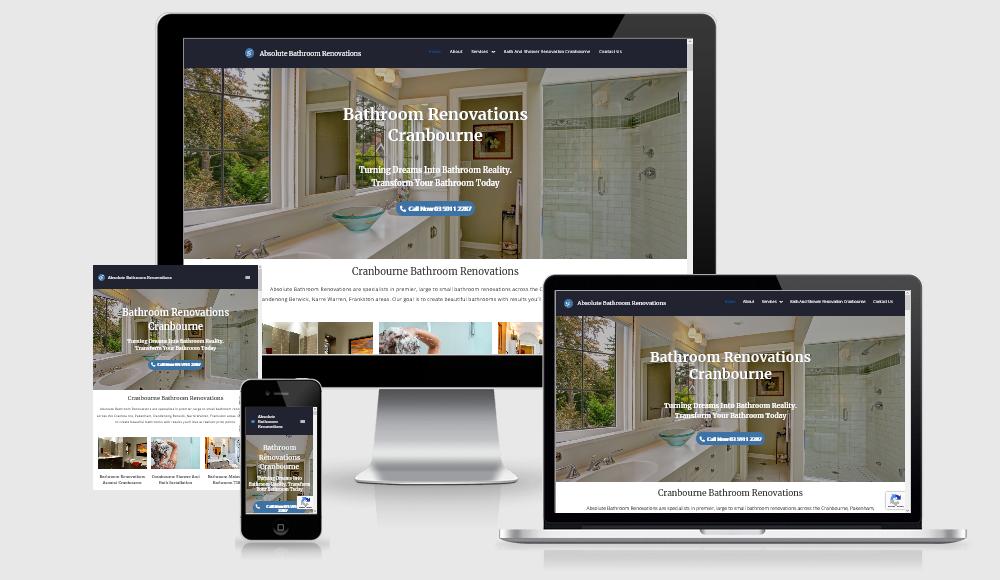 absolute bathroom renovations. website design warragul